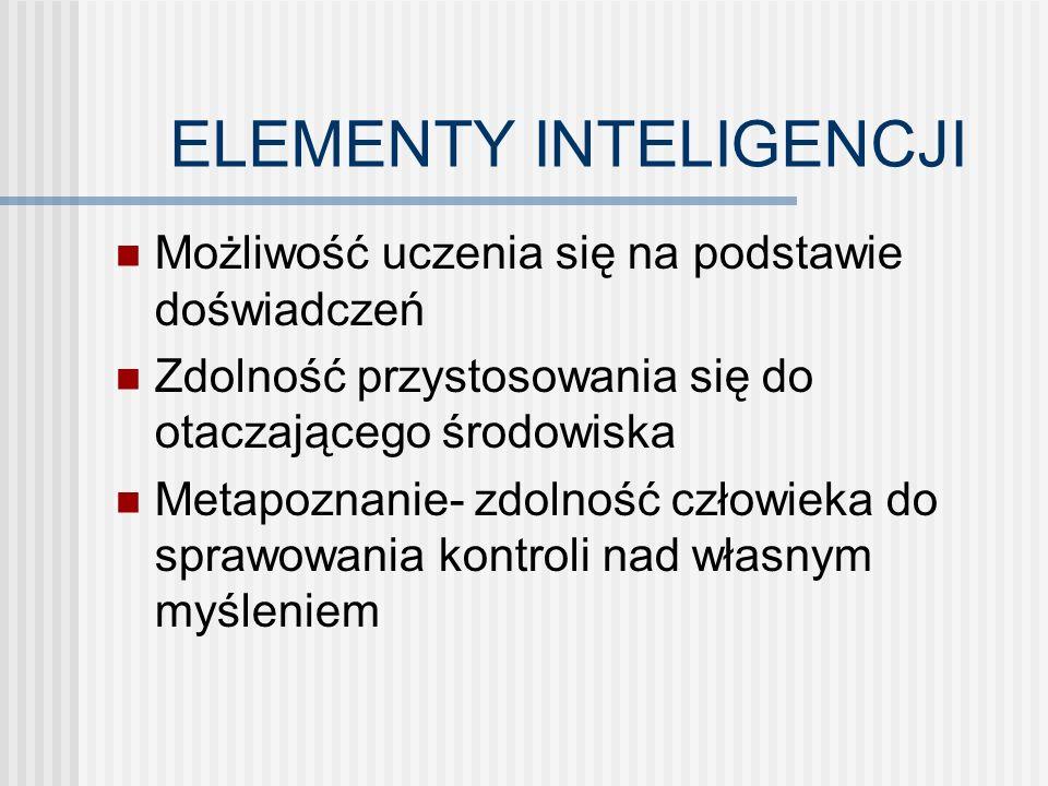 ELEMENTY INTELIGENCJI Możliwość uczenia się na podstawie doświadczeń Zdolność przystosowania się do otaczającego środowiska Metapoznanie- zdolność człowieka do sprawowania kontroli nad własnym myśleniem