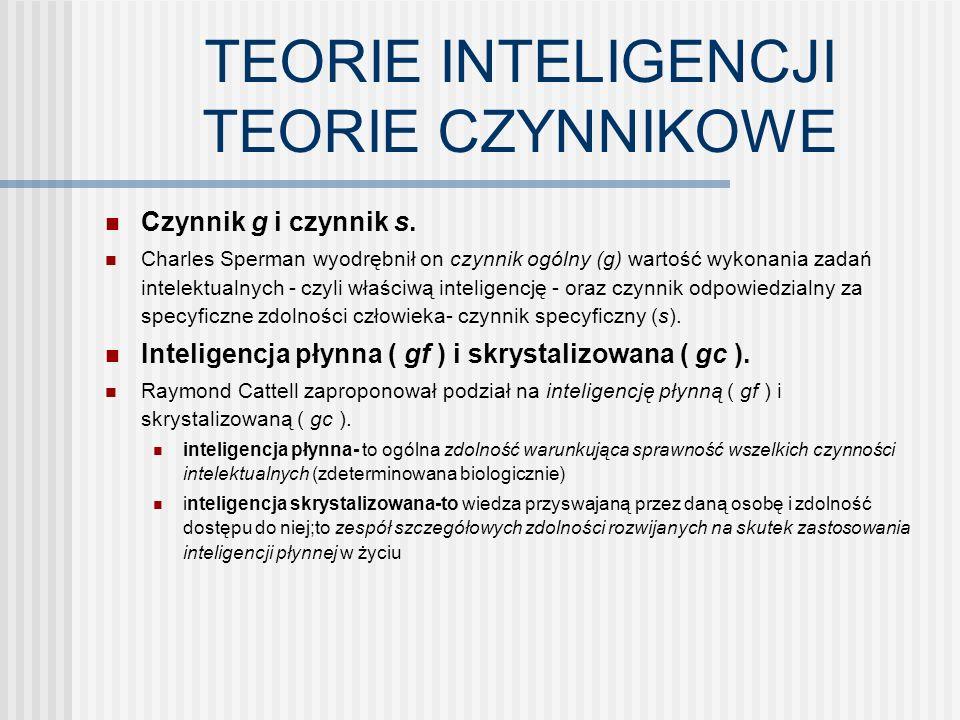 TEORIE CZYNNIKÓW RÓWNORZĘDNYCH Inteligencja wieloraka- Gardner