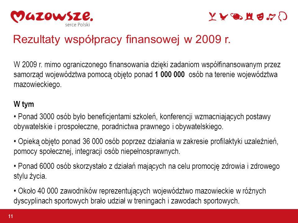 Rezultaty współpracy finansowej w 2009 r. 11 W 2009 r.