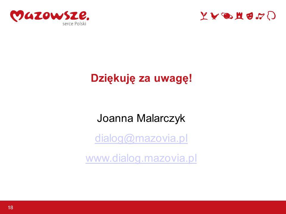 Dziękuję za uwagę! Joanna Malarczyk dialog@mazovia.pl www.dialog.mazovia.pl 18