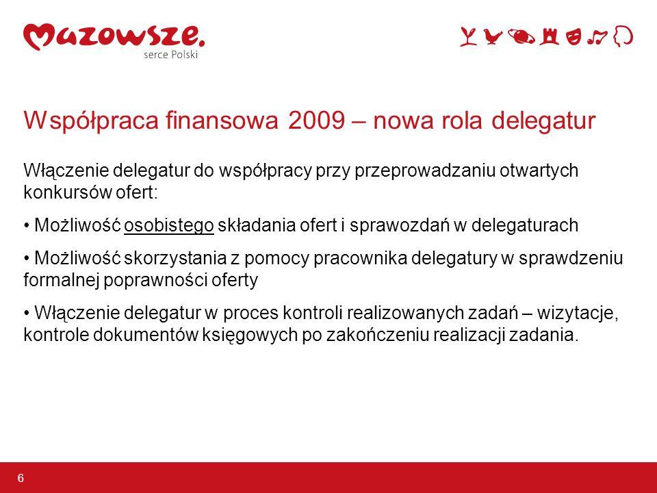 Współpraca finansowa 2009 – nowa rola delegatur Włączenie delegatur do współpracy przy przeprowadzaniu otwartych konkursów ofert: Możliwość osobistego składania ofert i sprawozdań w delegaturach Możliwość skorzystania z pomocy pracownika delegatury w sprawdzeniu formalnej poprawności oferty Włączenie delegatur w proces kontroli realizowanych zadań – wizytacje, kontrole dokumentów księgowych po zakończeniu realizacji zadania.