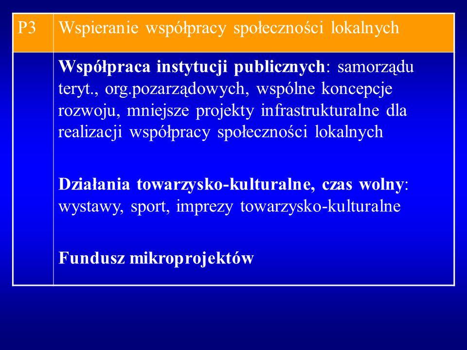 P3Wspieranie współpracy społeczności lokalnych Współpraca instytucji publicznych: samorządu teryt., org.pozarządowych, wspólne koncepcje rozwoju, mnie