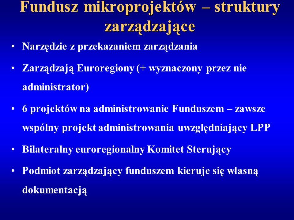 Fundusz mikroprojektów – struktury zarządzające Narzędzie z przekazaniem zarządzania Zarządzają Euroregiony (+ wyznaczony przez nie administrator) 6 projektów na administrowanie Funduszem – zawsze wspólny projekt administrowania uwzględniający LPP Bilateralny euroregionalny Komitet Sterujący Podmiot zarządzający funduszem kieruje się własną dokumentacją