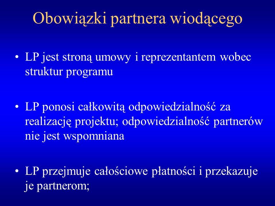 Obowiązki partnera wiodącego LP jest stroną umowy i reprezentantem wobec struktur programu LP ponosi całkowitą odpowiedzialność za realizację projektu; odpowiedzialność partnerów nie jest wspomniana LP przejmuje całościowe płatności i przekazuje je partnerom;