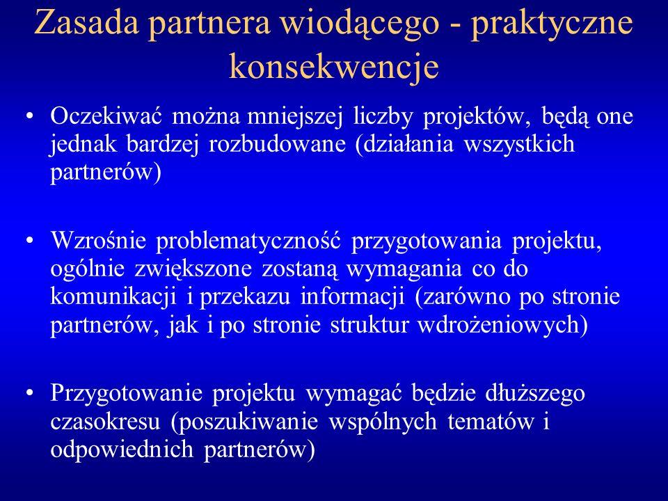 Zasada partnera wiodącego - praktyczne konsekwencje Oczekiwać można mniejszej liczby projektów, będą one jednak bardzej rozbudowane (działania wszystkich partnerów) Wzrośnie problematyczność przygotowania projektu, ogólnie zwiększone zostaną wymagania co do komunikacji i przekazu informacji (zarówno po stronie partnerów, jak i po stronie struktur wdrożeniowych) Przygotowanie projektu wymagać będzie dłuższego czasokresu (poszukiwanie wspólnych tematów i odpowiednich partnerów)