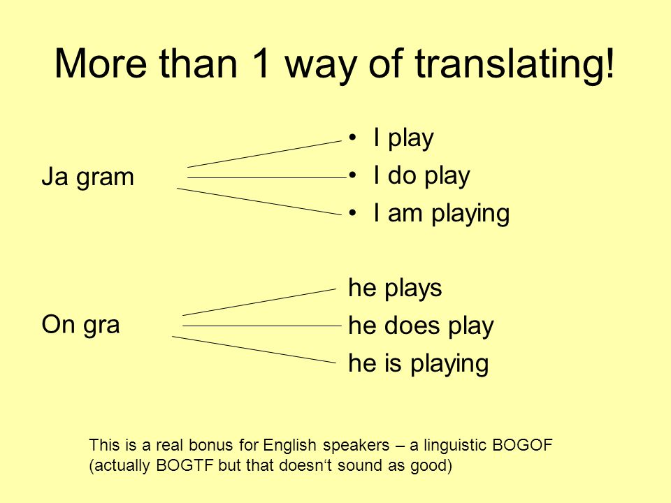 More than 1 way of translating! I play I do play I am playing he plays he does play he is playing This is a real bonus for English speakers – a lingui