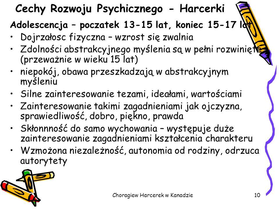 Choragiew Harcerek w Kanadzie10 Cechy Rozwoju Psychicznego - Harcerki Adolescencja – poczatek 13-15 lat, koniec 15-17 lat Dojrzałosc fizyczna – wzrost
