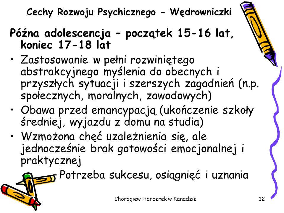 Choragiew Harcerek w Kanadzie12 Cechy Rozwoju Psychicznego - Wędrowniczki Późna adolescencja – początek 15-16 lat, koniec 17-18 lat Zastosowanie w peł