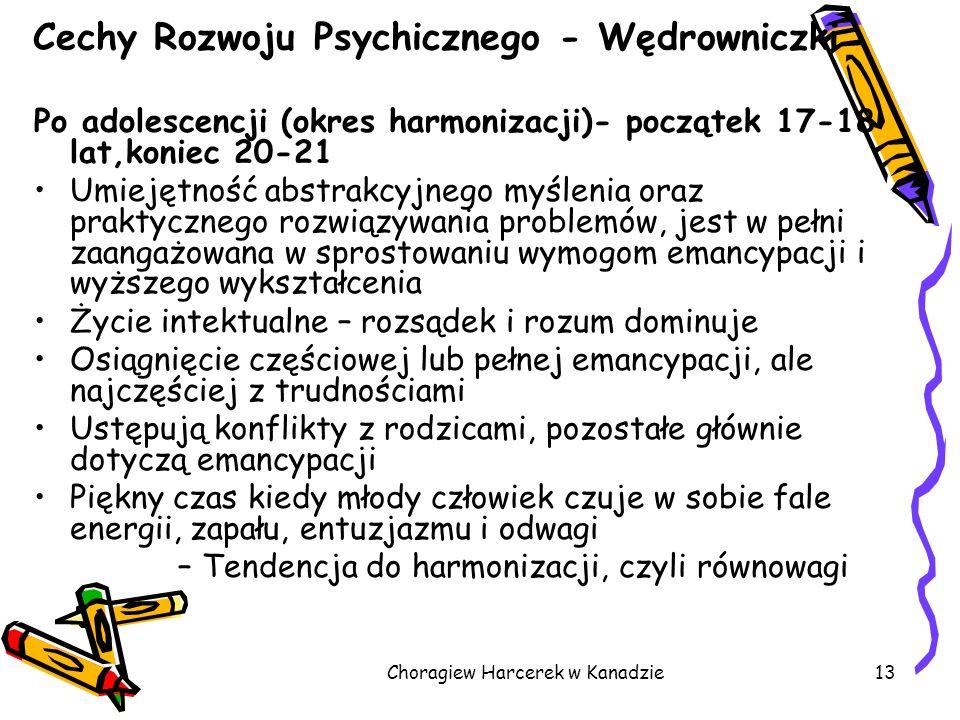 Choragiew Harcerek w Kanadzie13 Cechy Rozwoju Psychicznego - Wędrowniczki Po adolescencji (okres harmonizacji)- początek 17-18 lat,koniec 20-21 Umieję
