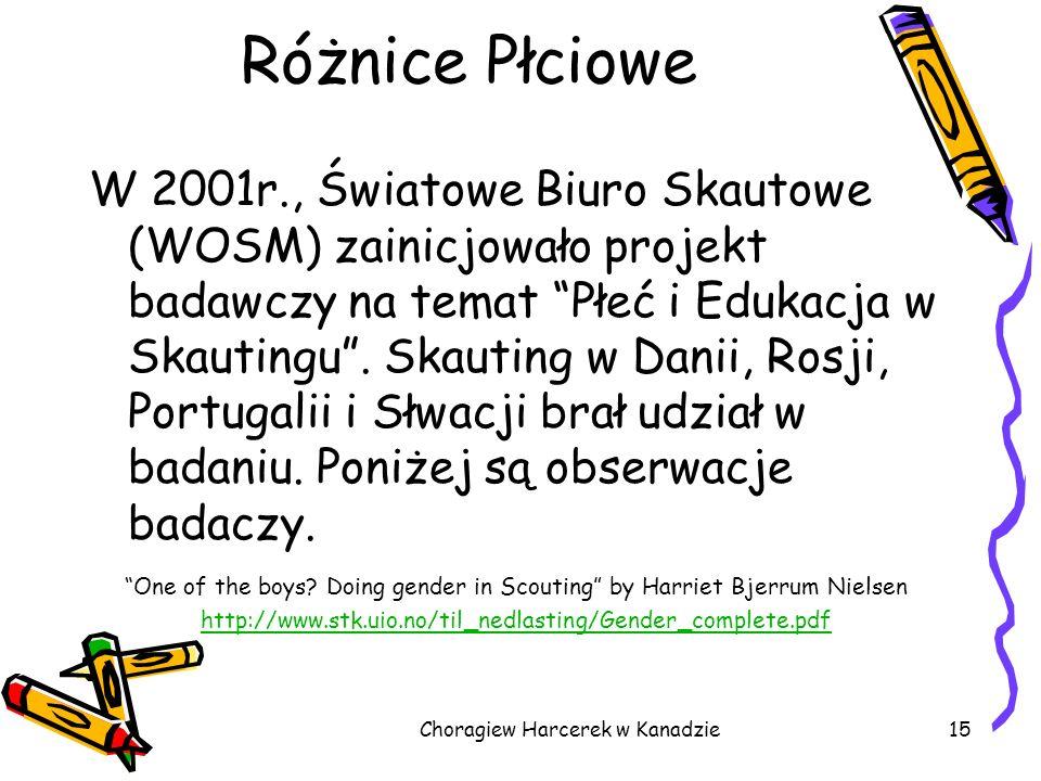 W 2001r., Światowe Biuro Skautowe (WOSM) zainicjowało projekt badawczy na temat Płeć i Edukacja w Skautingu. Skauting w Danii, Rosji, Portugalii i Słw