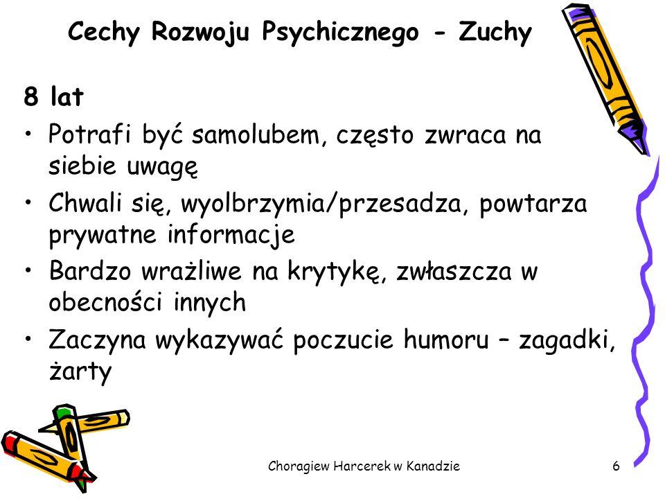 Choragiew Harcerek w Kanadzie6 Cechy Rozwoju Psychicznego - Zuchy 8 lat Potrafi być samolubem, często zwraca na siebie uwagę Chwali się, wyolbrzymia/p