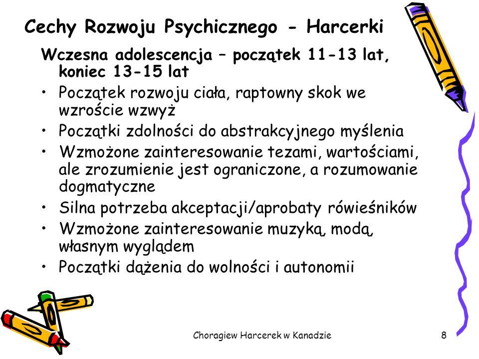 Choragiew Harcerek w Kanadzie8 Cechy Rozwoju Psychicznego - Harcerki Wczesna adolescencja – początek 11-13 lat, koniec 13-15 lat Początek rozwoju ciał