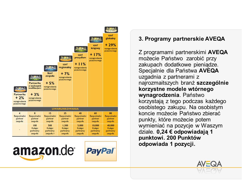 3. Programy partnerskie AVEQA Z programami partnerskimi AVEQA możecie Państwo zarobić przy zakupach dodatkowe pieniądze. Specjalnie dla Państwa AVEQA