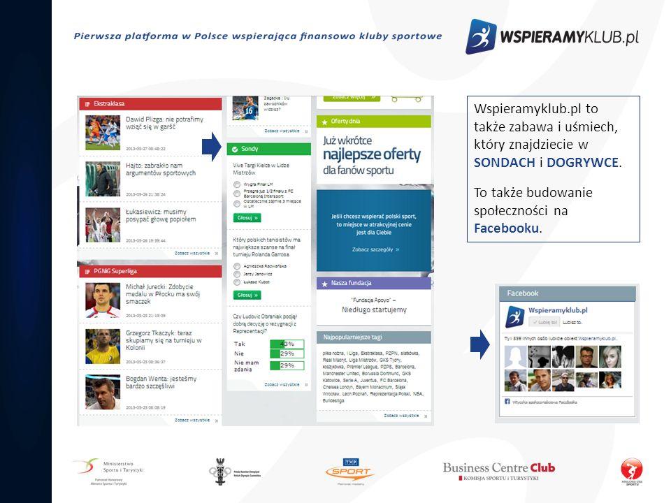 Wspieramyklub.pl to także zabawa i uśmiech, który znajdziecie w SONDACH i DOGRYWCE. To także budowanie społeczności na Facebooku.