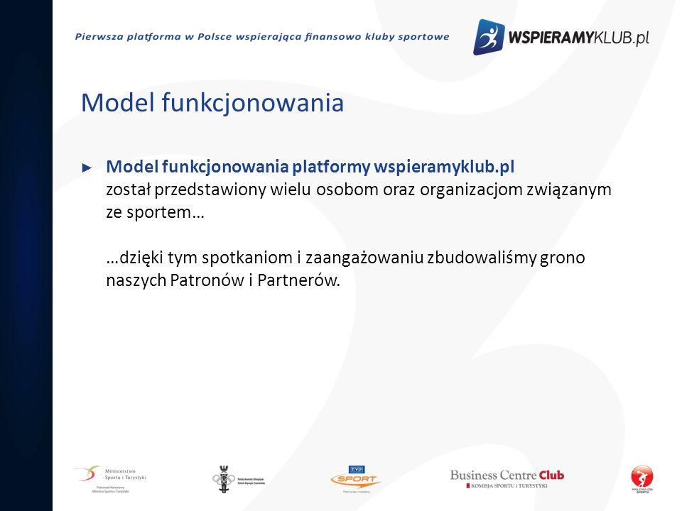 Model funkcjonowania Model funkcjonowania platformy wspieramyklub.pl został przedstawiony wielu osobom oraz organizacjom związanym ze sportem… …dzięki