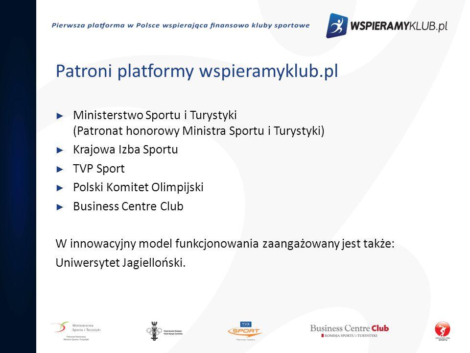 Patroni platformy wspieramyklub.pl Ministerstwo Sportu i Turystyki (Patronat honorowy Ministra Sportu i Turystyki) Krajowa Izba Sportu TVP Sport Polsk