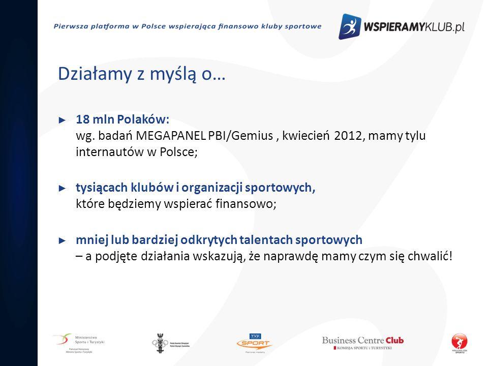 Działamy z myślą o… 18 mln Polaków: wg. badań MEGAPANEL PBI/Gemius, kwiecień 2012, mamy tylu internautów w Polsce; tysiącach klubów i organizacji spor