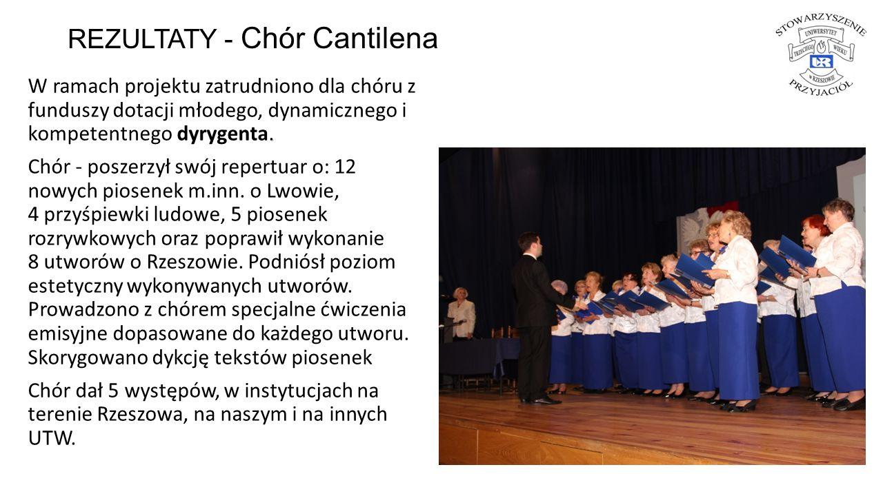 REZULTATY - Chór Cantilena. W ramach projektu zatrudniono dla chóru z funduszy dotacji młodego, dynamicznego i kompetentnego dyrygenta. Chór - poszerz