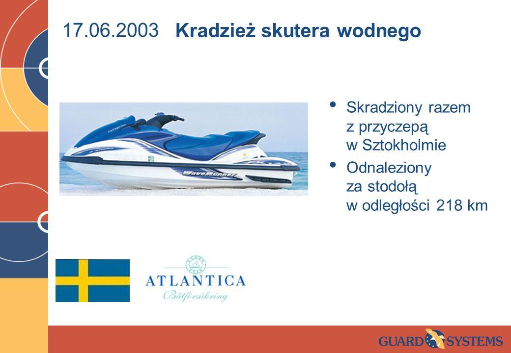 17.06.2003 Skradziony razem z przyczepą w Sztokholmie Odnaleziony za stodołą w odległości 218 km Kradzież skutera wodnego