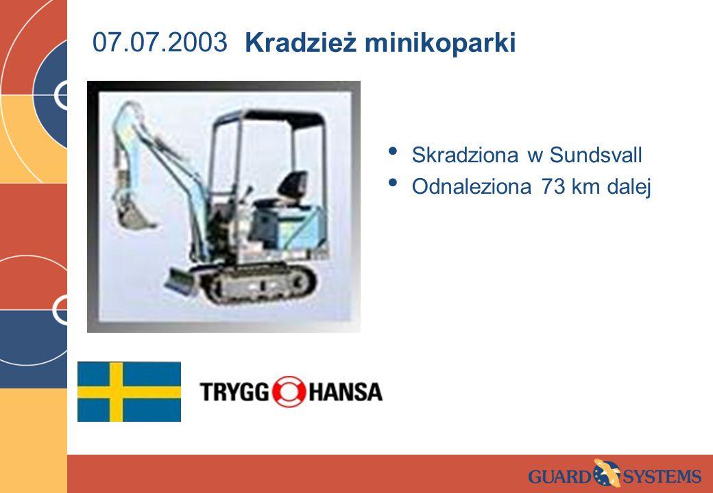 07.07.2003 Skradziona w Sundsvall Odnaleziona 73 km dalej Kradzież minikoparki