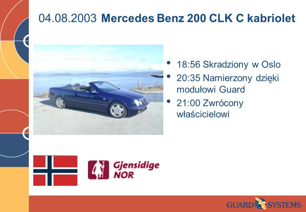 04.08.2003 18:56 Skradziony w Oslo 20:35 Namierzony dzięki modułowi Guard 21:00 Zwrócony właścicielowi Mercedes Benz 200 CLK C kabriolet