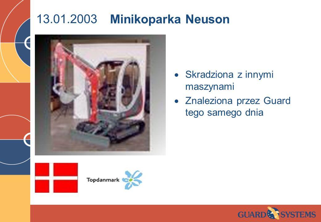 13.01.2003 Skradziona z innymi maszynami Znaleziona przez Guard tego samego dnia Minikoparka Neuson
