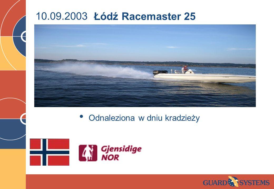10.09.2003 Odnaleziona w dniu kradzieży Łódź Racemaster 25
