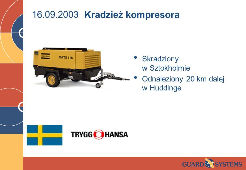 16.09.2003 Skradziony w Sztokholmie Odnaleziony 20 km dalej w Huddinge Kradzież kompresora