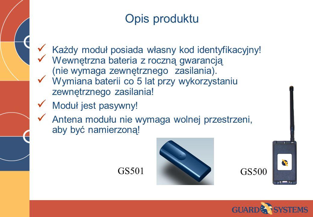 Opis produktu Każdy moduł posiada własny kod identyfikacyjny! Wewnętrzna bateria z roczną gwarancją (nie wymaga zewnętrznego zasilania). Wymiana bater