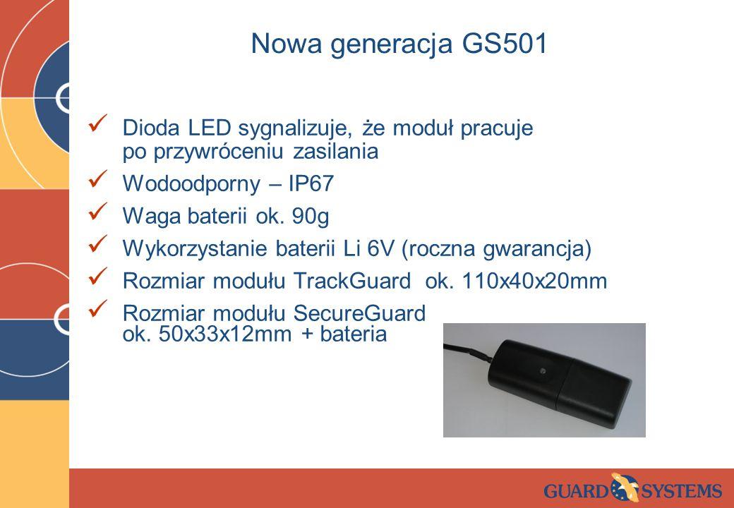Nowa generacja GS501 Dioda LED sygnalizuje, że moduł pracuje po przywróceniu zasilania Wodoodporny – IP67 Waga baterii ok. 90g Wykorzystanie baterii L