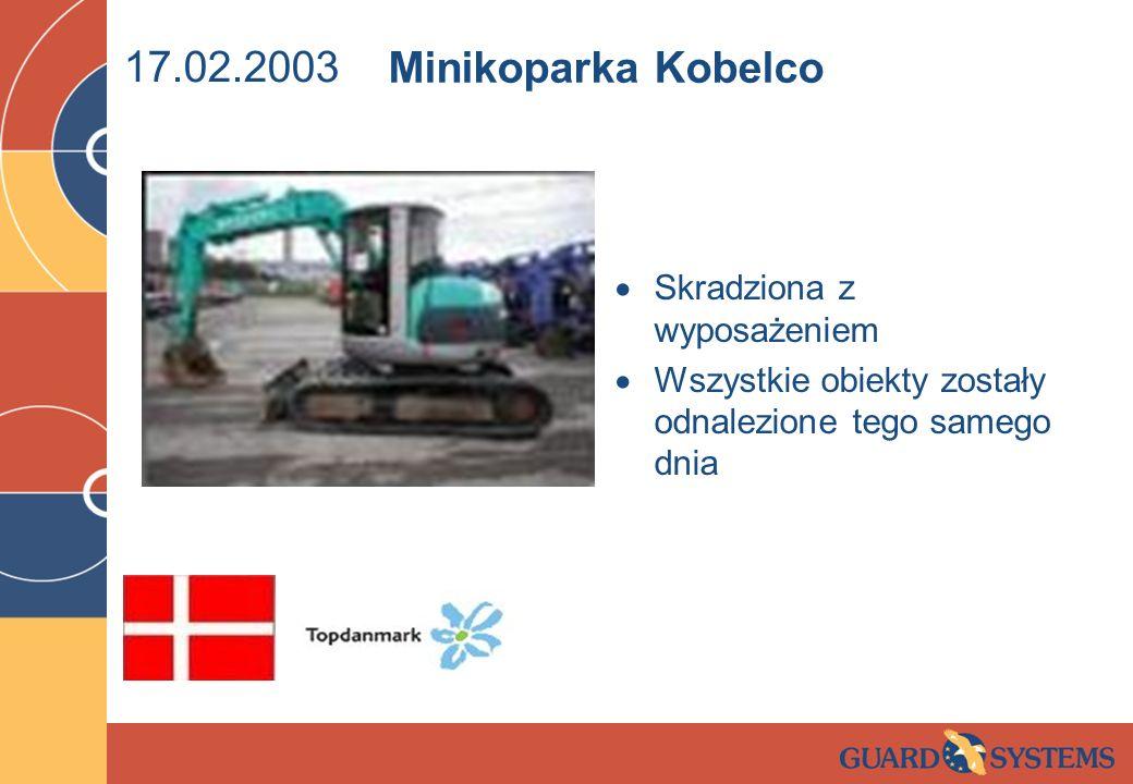 17.02.2003 Skradziona z wyposażeniem Wszystkie obiekty zostały odnalezione tego samego dnia Minikoparka Kobelco