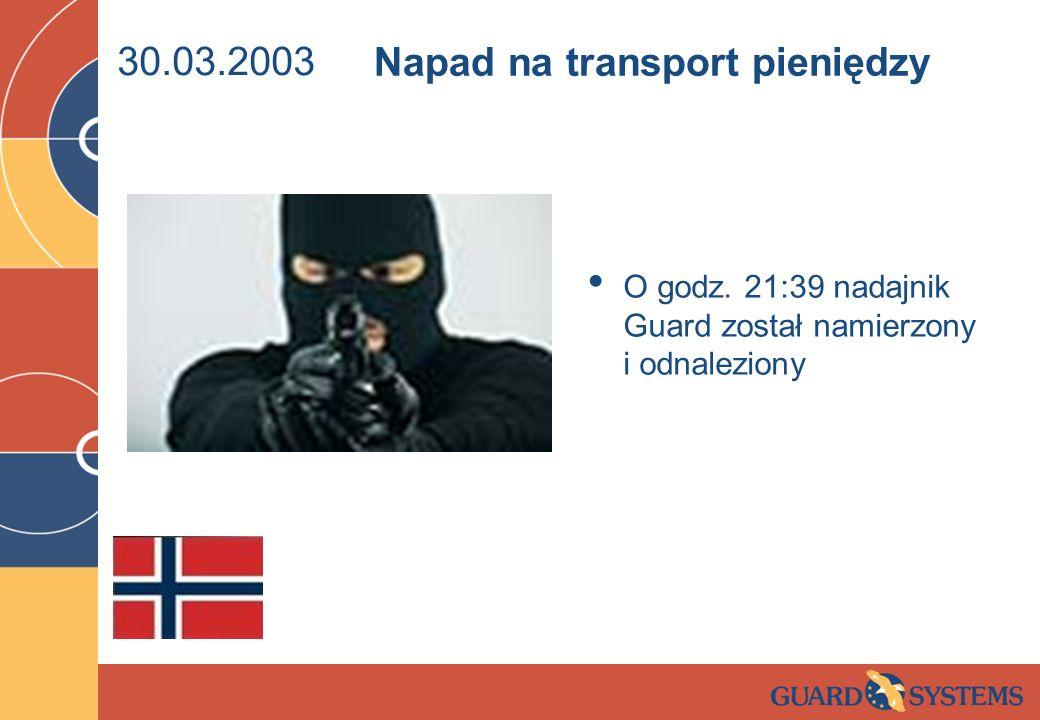 30.03.2003 O godz. 21:39 nadajnik Guard został namierzony i odnaleziony Napad na transport pieniędzy