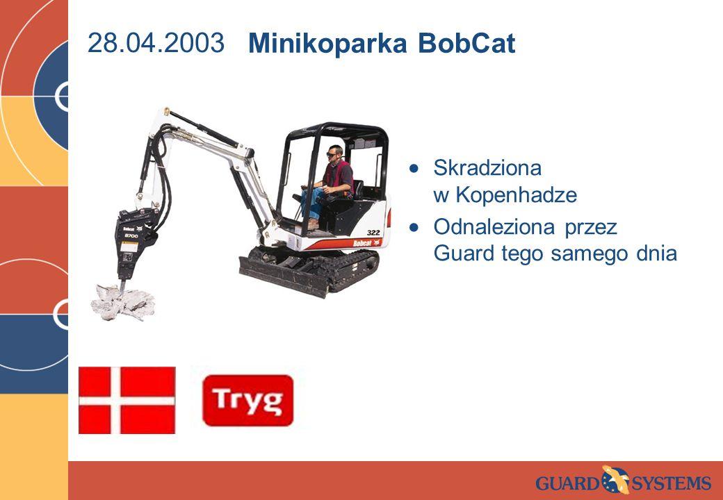 28.04.2003 Skradziona w Kopenhadze Odnaleziona przez Guard tego samego dnia Minikoparka BobCat