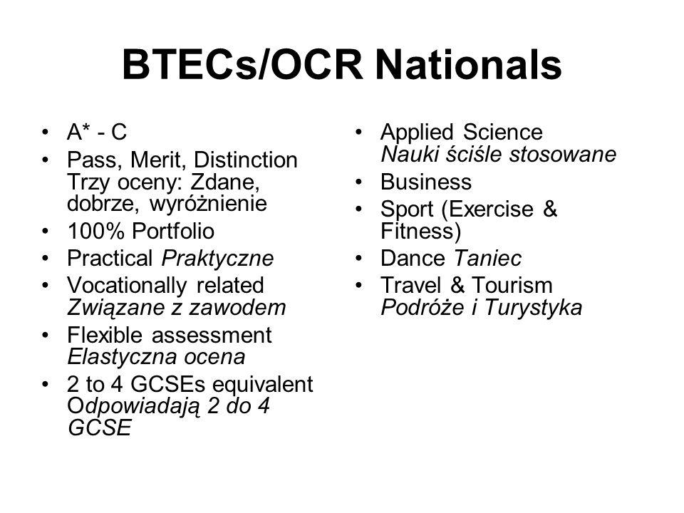 GCSEs A* - G 1 GCSE Some Modular Niektóre podzielone na części Opportunity to do retakes Możliwość powtórnego zdawania egz Exams Egzaminy Controlled T