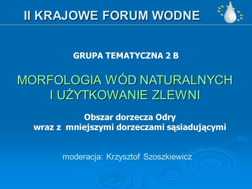 II KRAJOWE FORUM WODNE moderacja: Krzysztof Szoszkiewicz GRUPA TEMATYCZNA 2 B MORFOLOGIA WÓD NATURALNYCH I UŻYTKOWANIE ZLEWNI Obszar dorzecza Odry wraz z mniejszymi dorzeczami sąsiadującymi