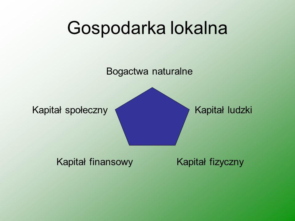 Gospodarka lokalna Bogactwa naturalne Kapitał społeczny Kapitał ludzki Kapitał finansowy Kapitał fizyczny