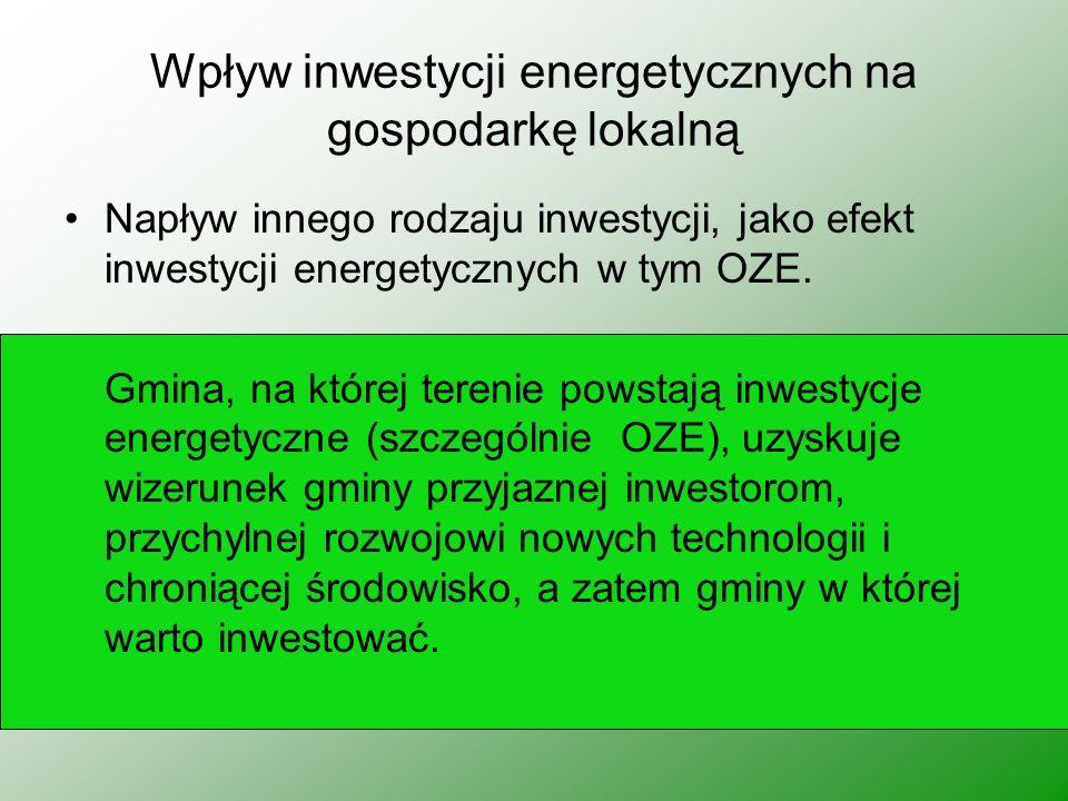 Wpływ inwestycji energetycznych na gospodarkę lokalną Napływ innego rodzaju inwestycji, jako efekt inwestycji energetycznych w tym OZE. Gmina, na któr
