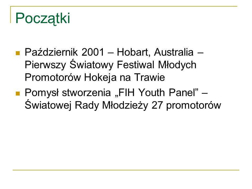 Początki Październik 2001 – Hobart, Australia – Pierwszy Światowy Festiwal Młodych Promotorów Hokeja na Trawie Pomysł stworzenia FIH Youth Panel – Światowej Rady Młodzieży 27 promotorów