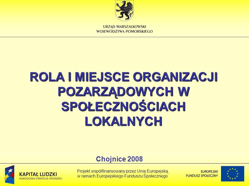 ROLA I MIEJSCE ORGANIZACJI POZARZĄDOWYCH W SPOŁECZNOŚCIACH LOKALNYCH Projekt współfinansowany przez Unię Europejską w ramach Europejskiego Funduszu Społecznego Chojnice 2008