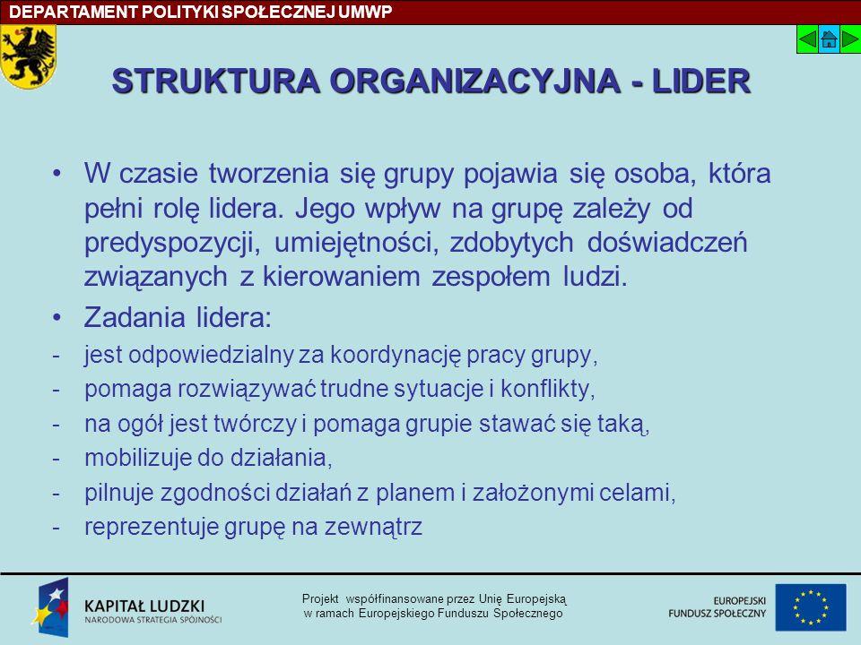 STRUKTURA ORGANIZACYJNA - LIDER W czasie tworzenia się grupy pojawia się osoba, która pełni rolę lidera.