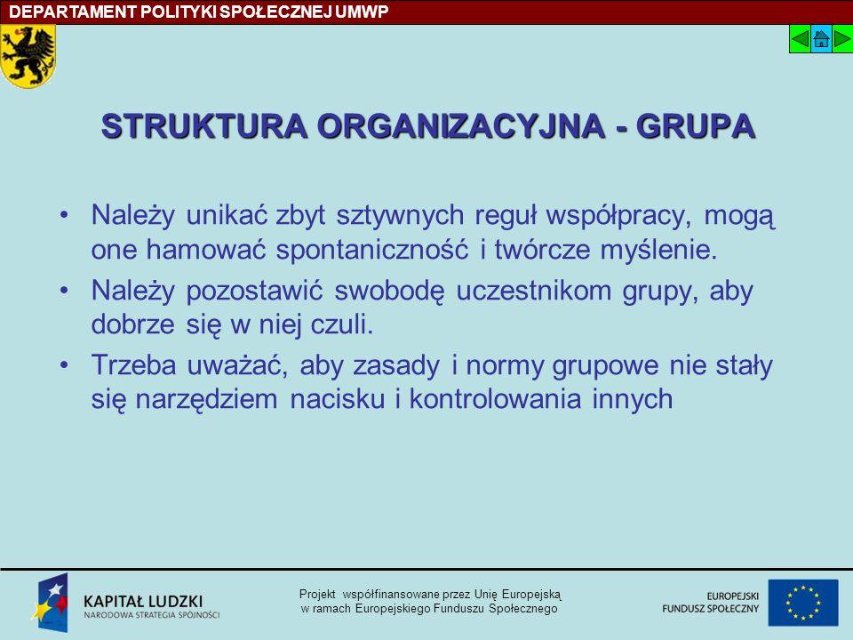 STRUKTURA ORGANIZACYJNA - GRUPA Należy unikać zbyt sztywnych reguł współpracy, mogą one hamować spontaniczność i twórcze myślenie.