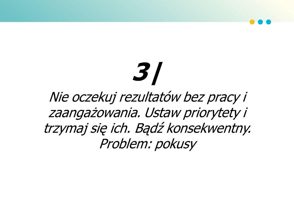 3| Nie oczekuj rezultatów bez pracy i zaangażowania. Ustaw priorytety i trzymaj się ich. Bądź konsekwentny. Problem: pokusy