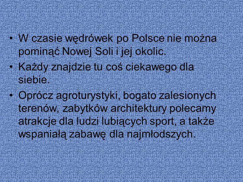 W czasie wędrówek po Polsce nie można pominąć Nowej Soli i jej okolic. Każdy znajdzie tu coś ciekawego dla siebie. Oprócz agroturystyki, bogato zalesi
