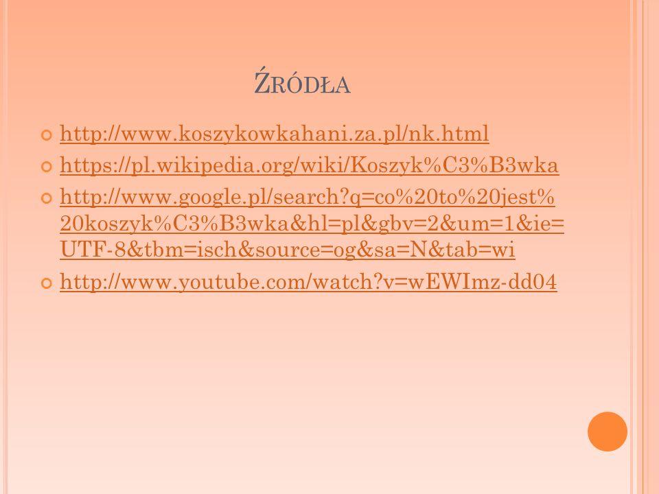 Ź RÓDŁA http://www.koszykowkahani.za.pl/nk.html https://pl.wikipedia.org/wiki/Koszyk%C3%B3wka http://www.google.pl/search?q=co%20to%20jest% 20koszyk%C