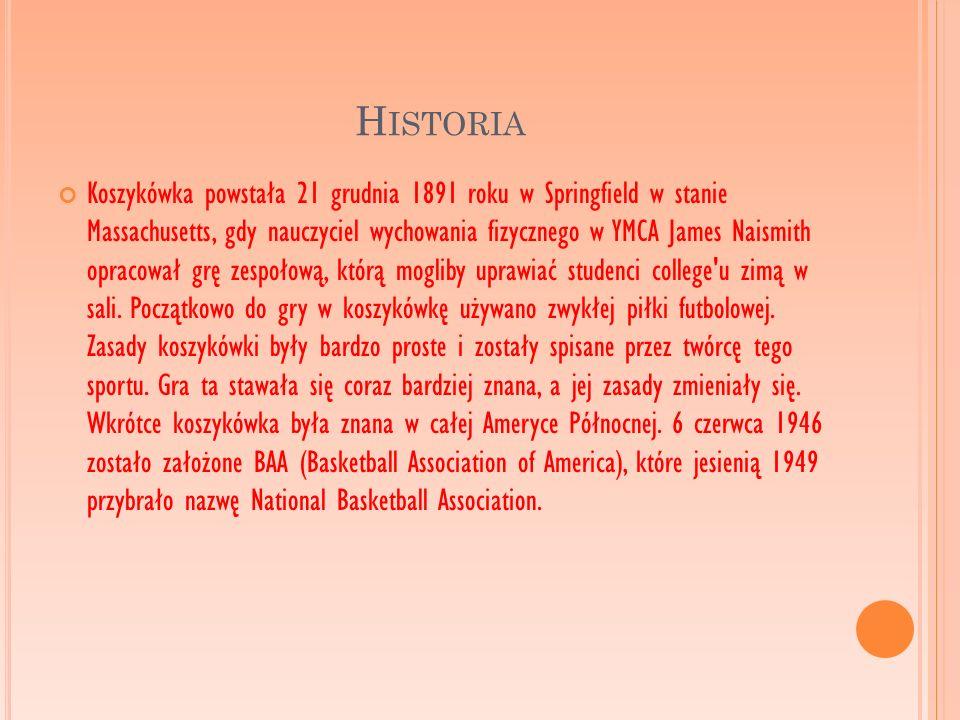 H ISTORIA Koszykówka powstała 21 grudnia 1891 roku w Springfield w stanie Massachusetts, gdy nauczyciel wychowania fizycznego w YMCA James Naismith op