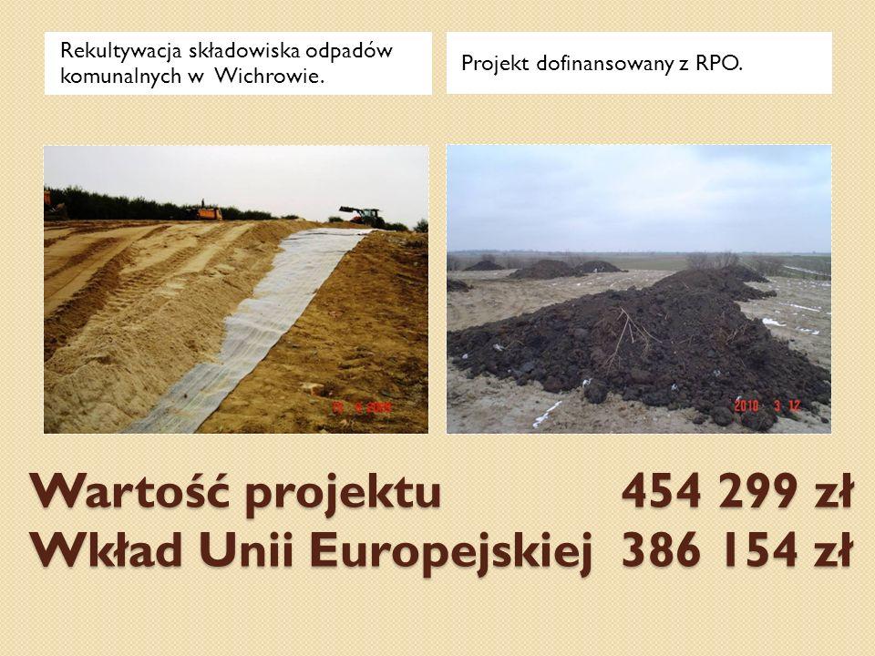 Wartość projektu 454 299 zł Wkład Unii Europejskiej 386 154 zł Rekultywacja składowiska odpadów komunalnych w Wichrowie. Projekt dofinansowany z RPO.