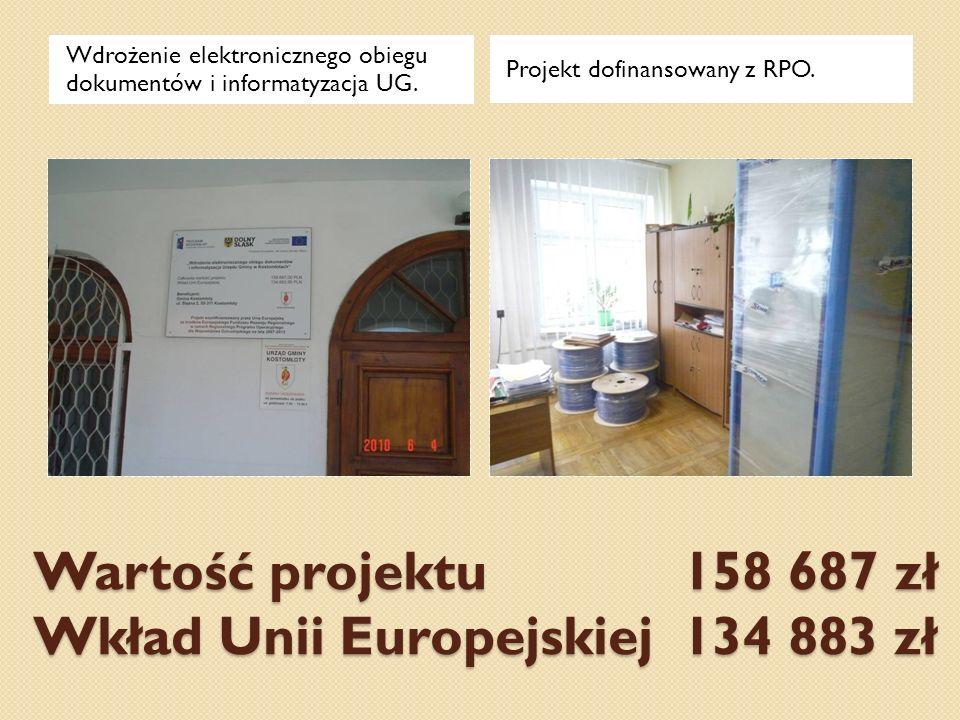 Wartość projektu 158 687 zł Wkład Unii Europejskiej 134 883 zł Wdrożenie elektronicznego obiegu dokumentów i informatyzacja UG. Projekt dofinansowany