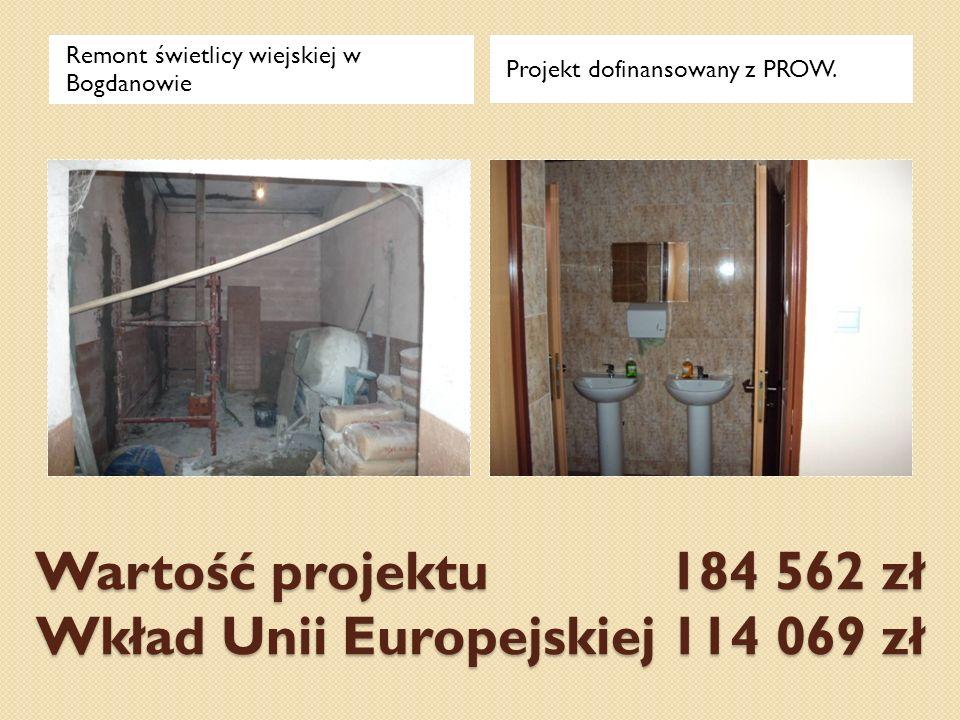 Wartość projektu 184 562 zł Wkład Unii Europejskiej 114 069 zł Remont świetlicy wiejskiej w Bogdanowie Projekt dofinansowany z PROW.