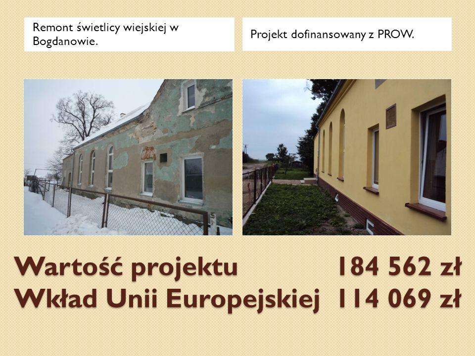 Wartość projektu 184 562 zł Wkład Unii Europejskiej 114 069 zł Remont świetlicy wiejskiej w Bogdanowie. Projekt dofinansowany z PROW.