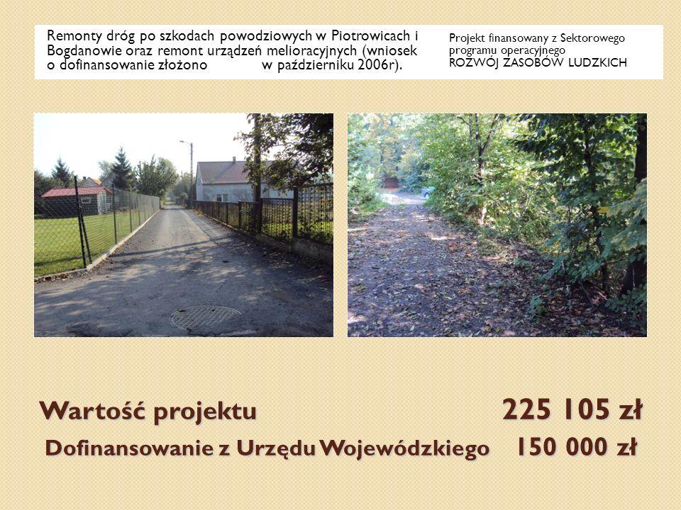 Wartość projektu 225 105 zł Dofinansowanie z Urzędu Wojewódzkiego 150 000 zł Remonty dróg po szkodach powodziowych w Piotrowicach i Bogdanowie oraz re
